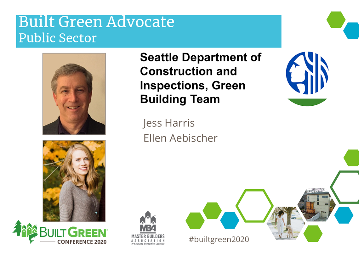 Built Green Hammer Awards, Built Green Advocate, Public Sector—Seattle Department of Construction and Inspections, Green Building Team