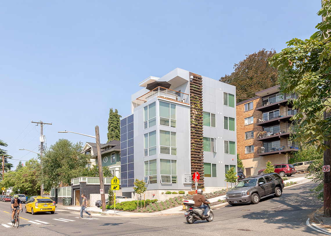 Build LLC 602 Flats exterior with living wall and solar panels, © Andrew van Leeuwen