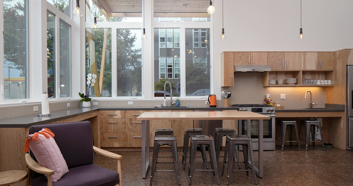 Neiman Taber Built Green 5-Star multifamily building The Roost common kitchen