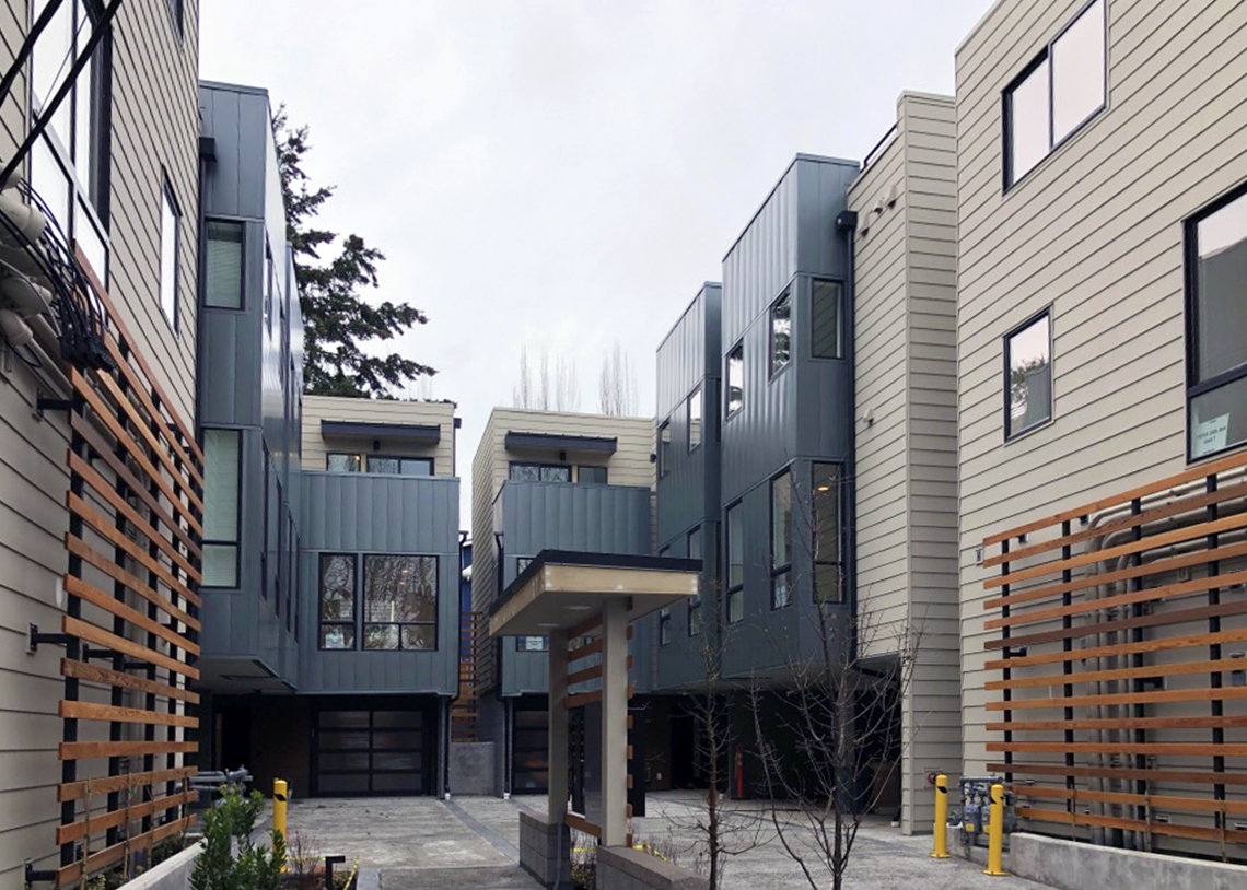 Denizen Development Group Madrona 12 Built Green 4-Star live/work townhomes courtyard